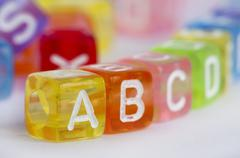 Text A B C on colorful wooden cubes Stock Photos