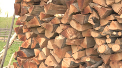 ULTRA HD 4K Pan right stock stack log natural tree wood texture firewood rural  Stock Footage