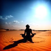 Desert yoga Stock Photos