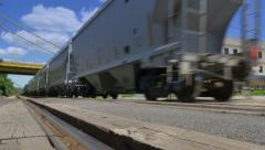 4K Freight Train Passes By Low Angle with Sound Stock Footage