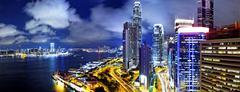 Hong kong skylines night Stock Photos
