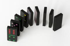 Multicolored domino pieces Stock Photos