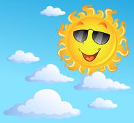 Sun with clouds theme  - stock illustration