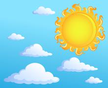 Sun with clouds theme  Stock Illustration