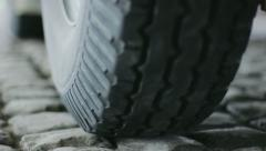 Automobile Car Tire on Pavement Close Up - 25FPS PAL Stock Footage