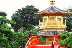 Pavilion of Absolute Perfection in the Nan Lian Garden, Hong Kong. Stock Photos