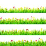 Green grass with daisy flowers isolated. EPS 10 Stock Illustration