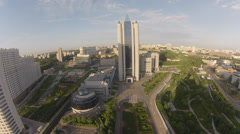 """GAZPROM"" headquaters office in Moscow Stock Footage"