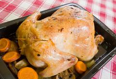 Roasted chicken in skillet Stock Photos