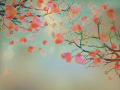 Blooming hearts tree concept. EPS 10 Stock Illustration