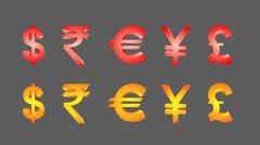 Currency symbols - stock illustration