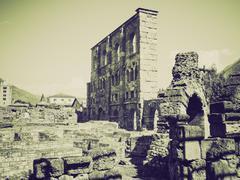 Stock Photo of Vintage sepia Roman Theatre Aosta