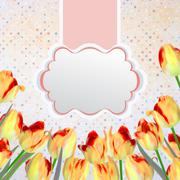Vintage tulips card with polka dot. EPS 10 - stock illustration