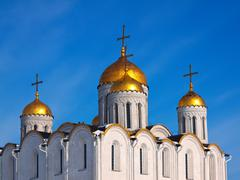 Domes of Assumption cathedral - stock photo
