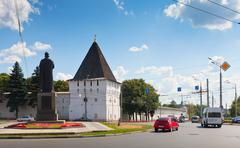 Monastery wall and monument of Yaroslav the Wise Stock Photos