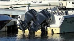 Twin outboard motors power boat Stock Footage