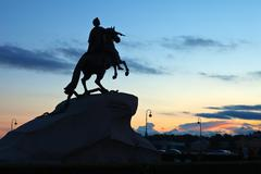 Equestrian statue of Peter the Great Stock Photos
