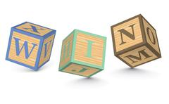 Word win written with alphabet blocks Stock Illustration
