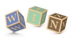 word win written with alphabet blocks - stock illustration