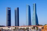 Four Towers Business Area from railroad. Madrid Stock Photos