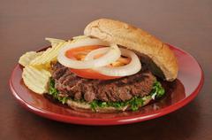 Hamburger and potato chips Stock Photos