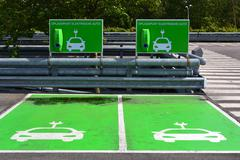 Charging station for electric cars. - stock photo