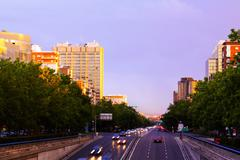 Paseo de la Castellana in sunset time.  Madrid - stock photo