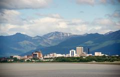 office buildings city skyline downtown anchorage alaska united states - stock photo
