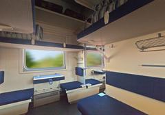 Interior of sleeper train Stock Photos