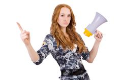 Redhead soldier with loudspeaker on white Stock Photos