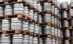 Stock Photo of Beer kegs in rows