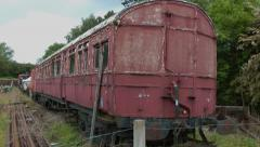 Old abandoned train railway passenger carriage Stock Footage