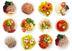 Top view of many plates with food Stock Photos