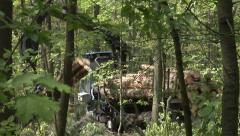 A forwarder collecting tree trunks after felling in a green forest 5 Stock Footage