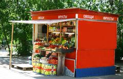 typical russian green grocery stall - stock photo