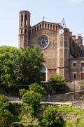 ancient church in Sant Joan les Fonts - stock photo
