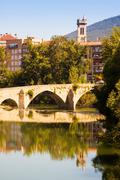 Old bridge over Arga river. Pamplona, Navarre Stock Photos