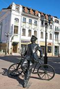 Sculpture of postman at bolshaya pokrovskaya street Stock Photos