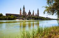 Stock Photo of Cathedral and river in Zaragoza. Aragon