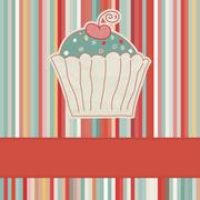 Retro card with cupcake. And also includes EPS 8 Stock Illustration