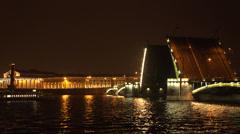 Divorced Birzhevoy bridge. Saint-Petersburg. 4K. Stock Footage