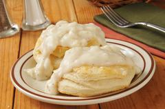 Biscuits with pepper gravy - stock photo