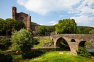 Stock Photo of Old church and medieval bridge