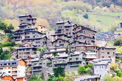 City at  Pyrenees mountains. Andorra la Vella - stock photo
