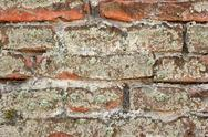 Stock Photo of detail of moss on ancient brick  wall,  old fortress exterior  architectural