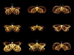 Collection of Fractal Butterflies - stock illustration