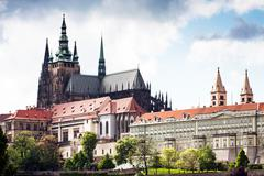 Spring prague castle and the cathedral of st vitus, prague, czech republic, e Stock Photos