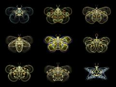 Virtual Fractal Butterflies Stock Illustration
