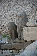 monument of gods on nemrut mountain - stock photo