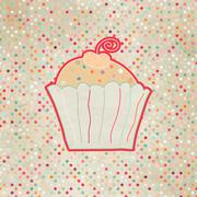 Vintage card with cupcake. And also includes EPS 8 - stock illustration